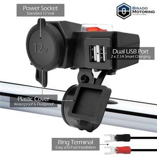 Dual USB with Cigarette Lighter Port with Switch