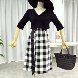 TC2568 Korea 2 Pieces Black Top + Checkers Belted Skirt (Set)
