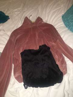 Black and pink velvet hoodies