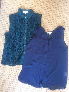 (2 TOPS DEAL) Chiffon sleeveless tops