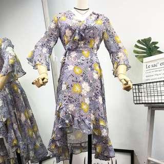TC2569 Korea Flowers Printed Chiffon Dress (Purple Flowers,Red Flowers)