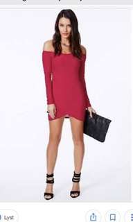Off shoulder mini red dress