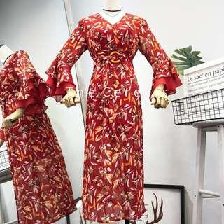 TC2570 Korea Flowers Printed Belted Dress