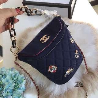 Chanel 18限量 徽章菱格 鏈條包 水桶包