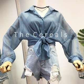 TC2571 Korea Sheer Boyfriend Shirt (Blue,Black)