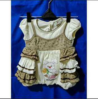 REPRICE. Baby Dress Rabbit Size 0-6m