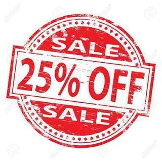 25% OFF ALL ITEMS! EVERYTHING MUST GO!