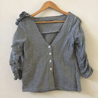 REPRICED!! Bachata Womens Checkered Blouse