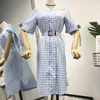 TC2572 Korea Soft Blue Checkers Buttons Dress (Excluded Belt)