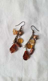 brown stones earrings