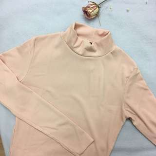 Turtle neck long sleeves top - baby pink