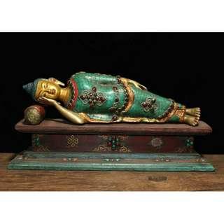 釋迦摩尼睡佛像 尊稱為【佛陀】世界三大宗教之壹 佛教創始人 銅胎   象嵌綠松石