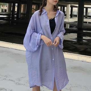 《預購》防曬衫女夏季新款韓版寬鬆七分袖襯衫中長款開衫襯衫薄款