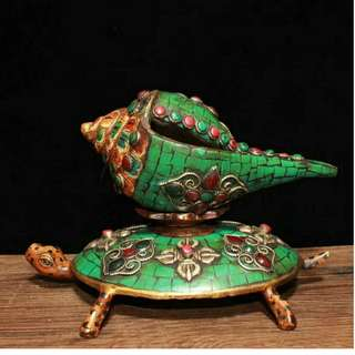 古銅紅綠松石鑲嵌 龜螺法器 佛家法器 可分開 鎮宅辟邪擺件