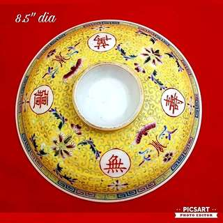 1960s Chinese Porcelain Tureen Cover in bright yellow colour, hand-painted. Large, refer photo for size. Good condition. $18 Clearance offer, sms 96337309