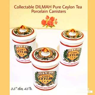 Collectable Dilmah Pure Ceylon Tea Porcelain Canisters with Beautiful Hot-Stamp Gold Labels. Size as in photo. Good Condition, no chip no crack. All 3pcs for $8 Offer, sms 96337309.