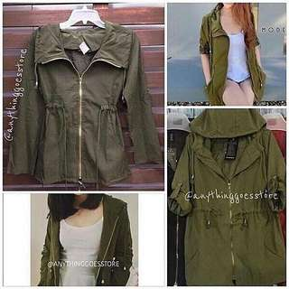 SALE!!! Army Green Parka Jacket with or without Hoodie