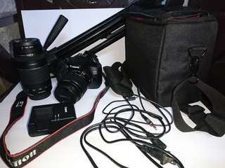 Canon 1300D with lenses and accessories