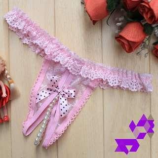 🚚 情趣性感小珍珠蕾絲邊低腰開檔丁字褲一件59元(粉色)