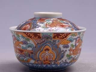 龍峰作描金彩繪紋飾瓷蓋缽