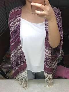 Brand New Forever21 Boho Kimono Cover Up Purple