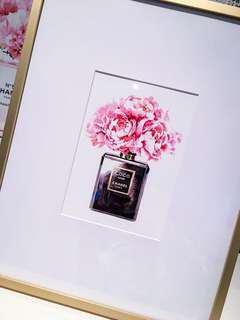Brand new chanel Print in gold frame