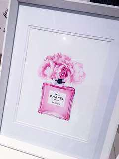 Brand new white frame with chanel Print