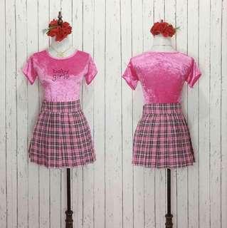 Velvet top and skirt