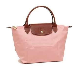 (全新歐洲直送) Longchamp 短柄 M size 淡粉紅 餃子袋