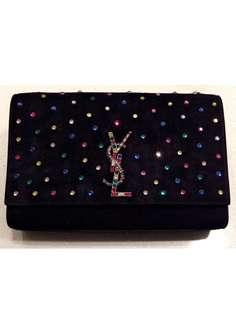 YSL Saint Laurent Medium Kate Black Suede Crystal Embellished Chain Bag