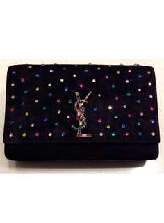 YSL Saint Laurent Medium Kate Black Suede Crystal Embellished Chain Bag