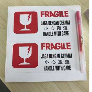 100pcs Fragile Handle With Care Sticker Delivery Shipping (pen as size comparison purposed)