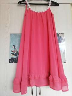 Brand new pink summer flowy dress with frilly edge
