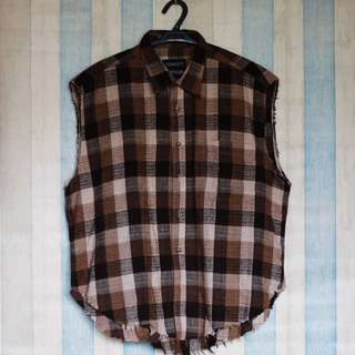 Oversized Unisex Plaid Muscle Button Down