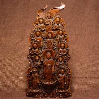 古剎結緣 黃楊木精雕 萬佛朝宗 佛教美術品 供奉品