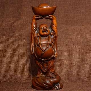 古鎮遊玩結緣 黃楊木細工雕刻 布袋和尚 笑面佛 彌勒佛 佛公