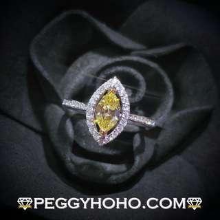 【Peggyhoho】全新18K白金單粒52份marquise cut鮮黃色彩鑽配小鑽 共75份真鑽石戒指|FANCY YELLOW|IGI 證書 HK13號