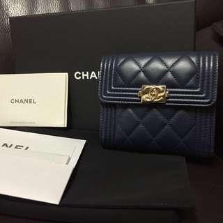 (有單)Chanel Boy 深藍色淡金扣Wallet 細/短銀包