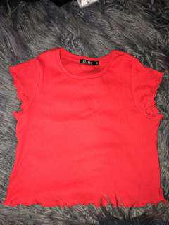 Red frill ribbed crop