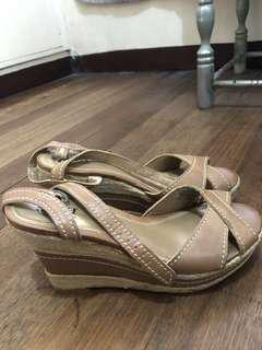 4 inches High Tan Wedge Sandals