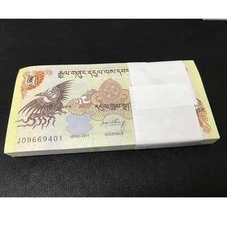 100 PCS 2011 BHUTAN 5 NGULTRUMS BUNDLE STACK UNC