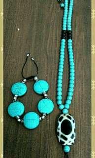 綠松石手鍊項鍊組 純服飾搭配  商品保存良好 無貨到付款  低價商品 恕不受理退換貨