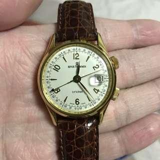 Revue Thommen Cricket 50's Style 18K Gold Alarm Watch