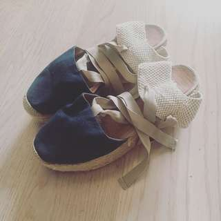 Navy Blue & Off-White Wedged Sandals