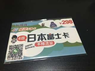 日本上網卡 富士卡 綠色富士卡 4G 2GB 後3G無限
