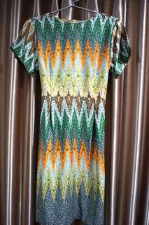Green tribal batik dress
