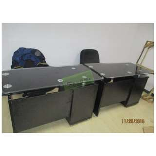 OFFICE TABLES GLASS TOP WITH CABINET :) KHOMI