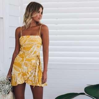 Yellow Tied Waist Mini Summer Dress