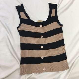 🚚 [全新出清]條紋排釦短版針織背心 #女裝半價拉