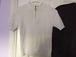 Dotti Zip White Knit Top Size M